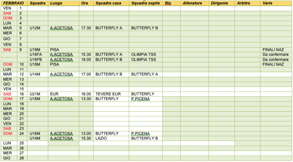 Lazio Calendario Partite.Calendario Partite Hockey Butterflyhockey Butterfly